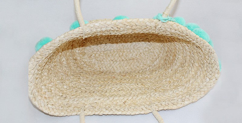 tassel straw beach bag