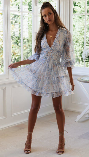 floral print ruffle mini dress