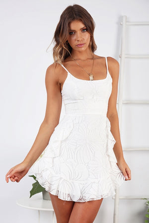 frill white floral dress