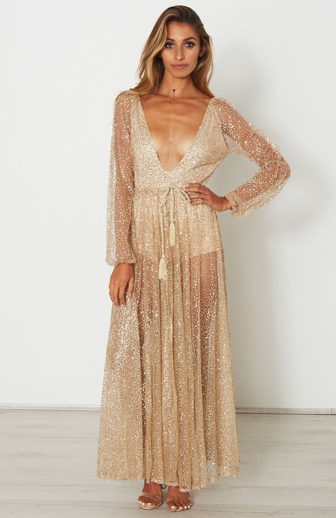 glitter chiffon dress