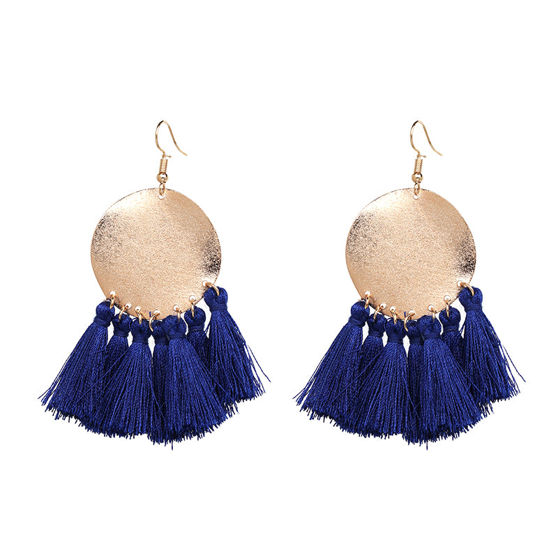 gold and blue tassel earrings