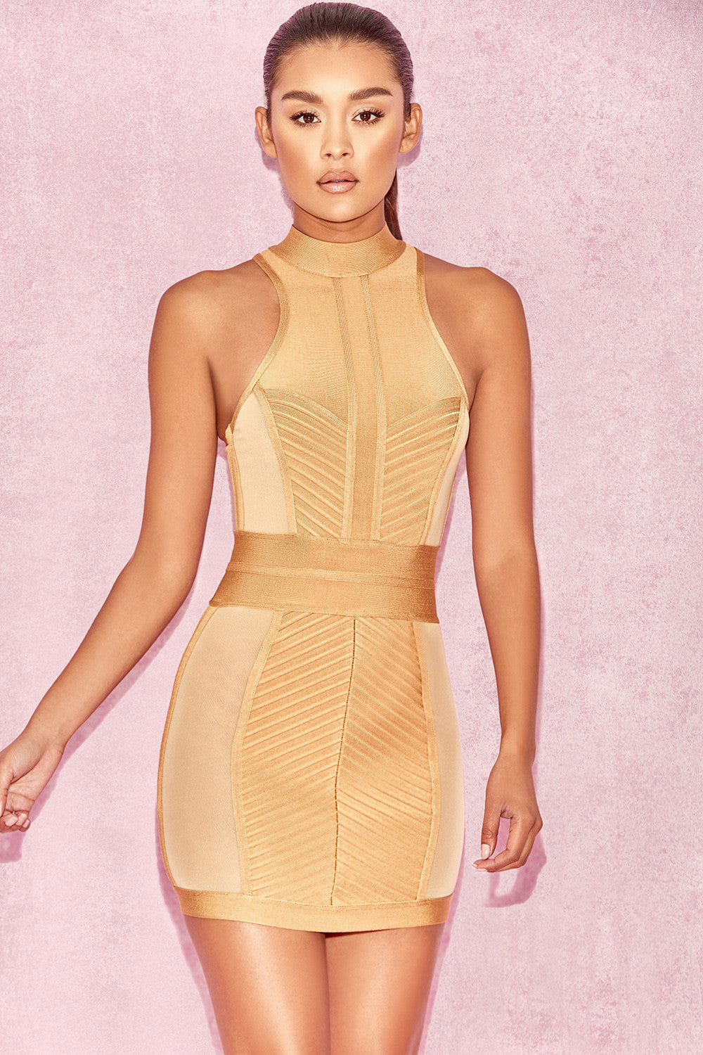 gold bodycon bandage dress