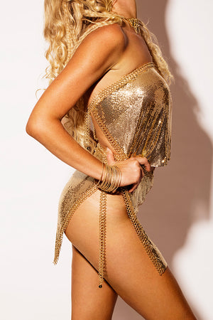 gold chain two piece set