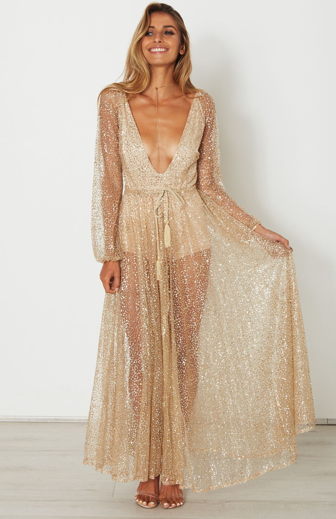 gold chiffon dress