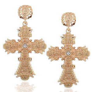 gold cross earrings