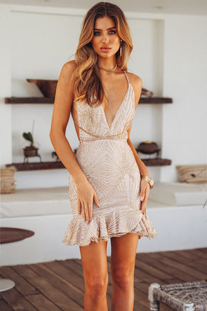 gold glitter mini dress