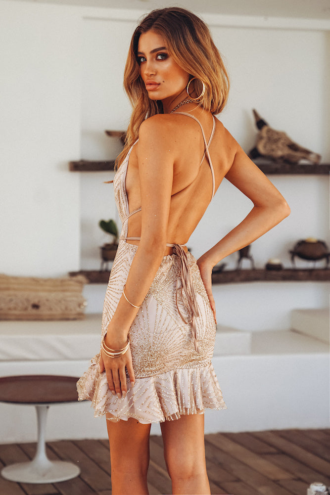 gold glitter open back dress