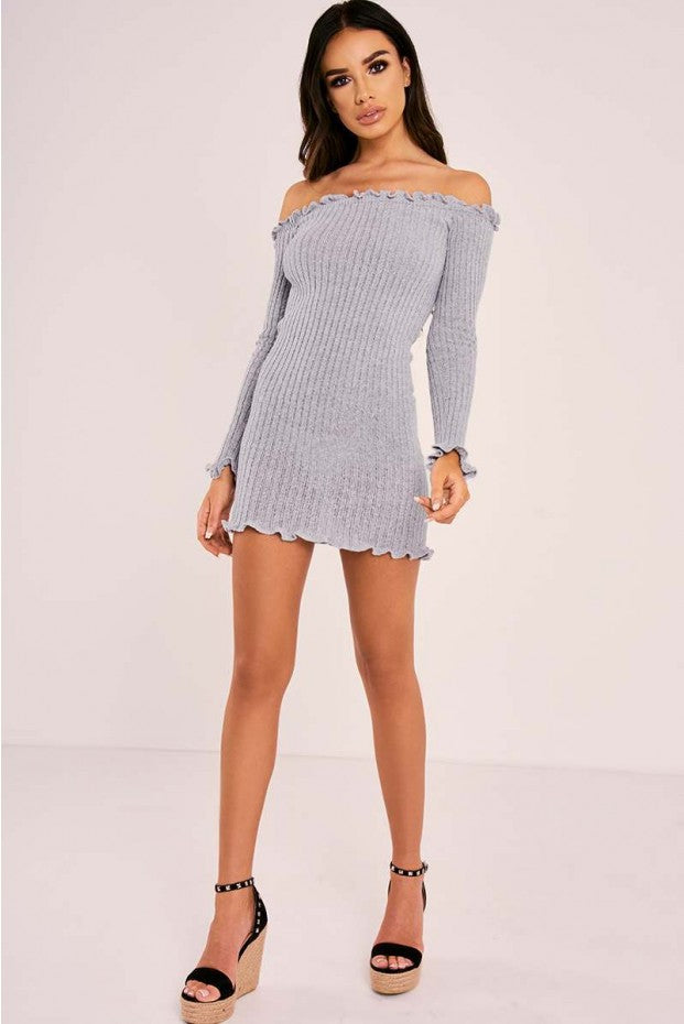 gray bardot mini dress