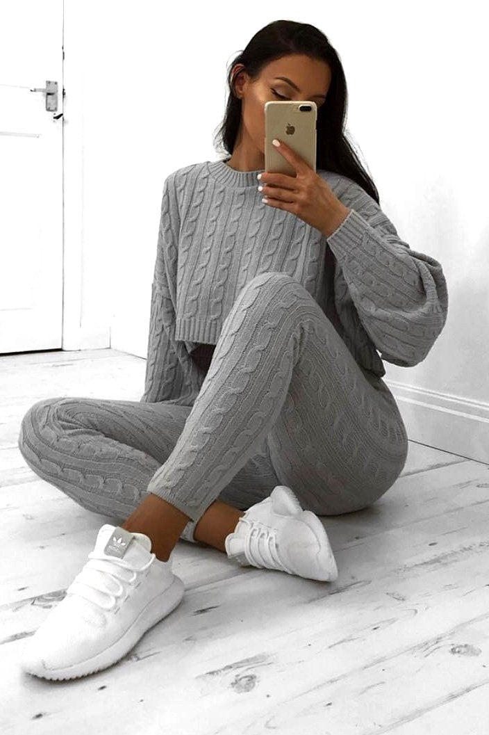 gray batwing sweater leggings co-ord set