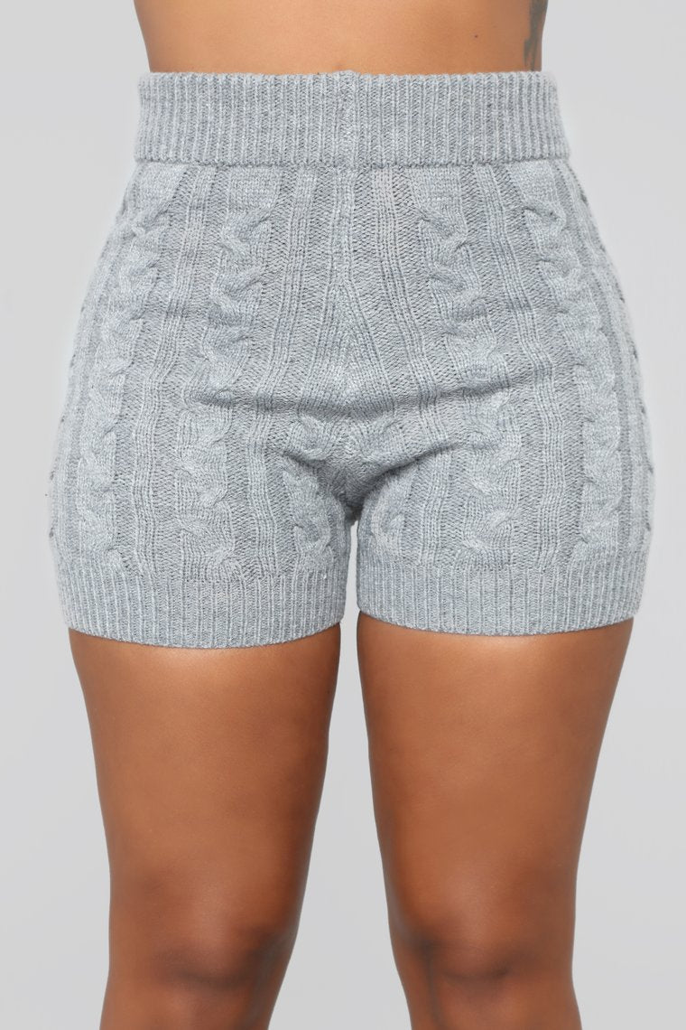 gray cable knit shorts