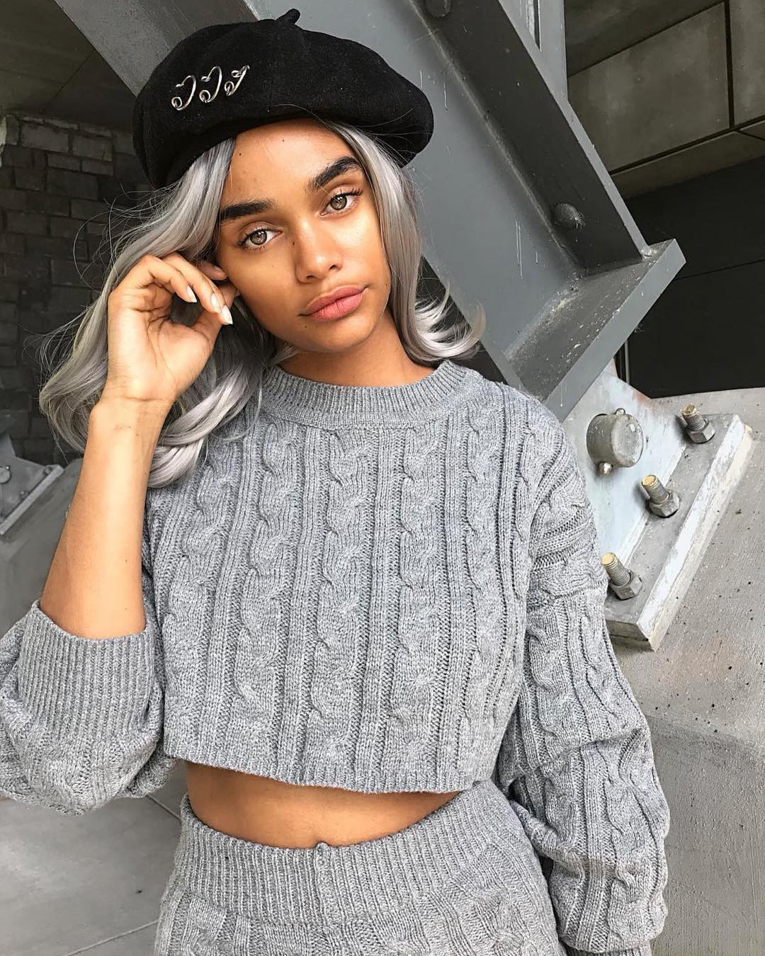 gray cable knit sweater set