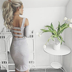 gray cut out shoulder dress