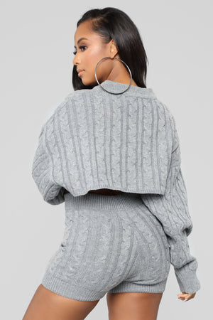 gray knit sweater co-ord set