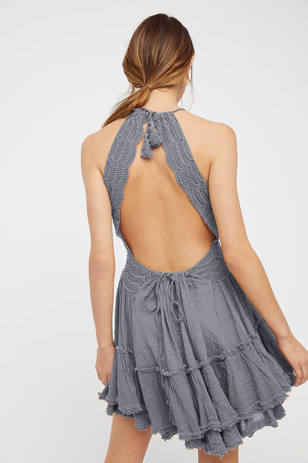 gray open back dress