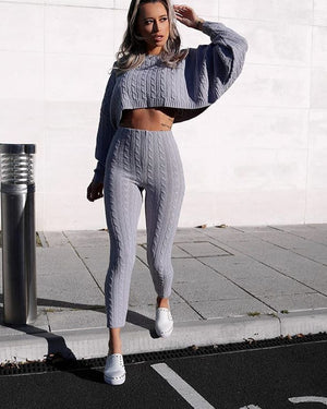 gray sweater and knit leggings set