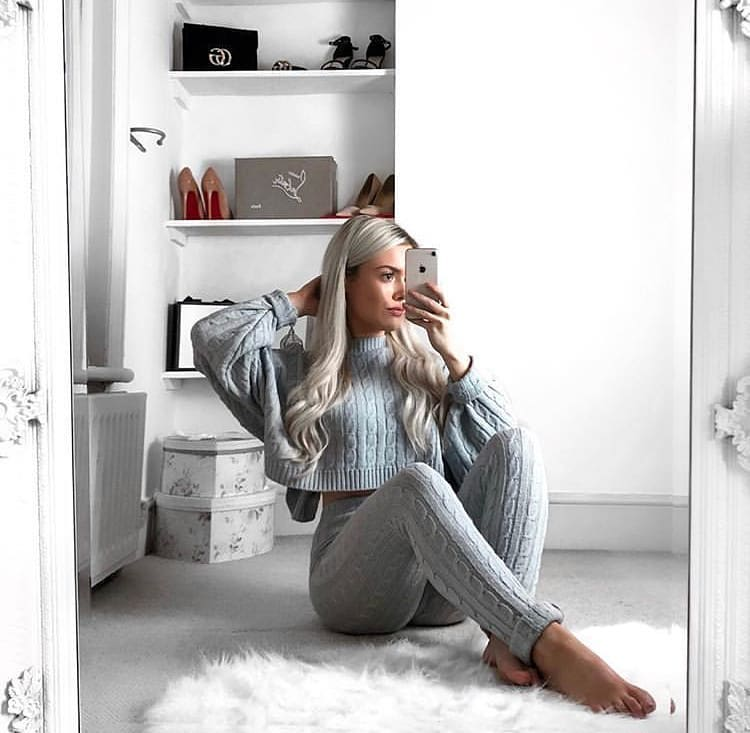 gray sweater and leggings set