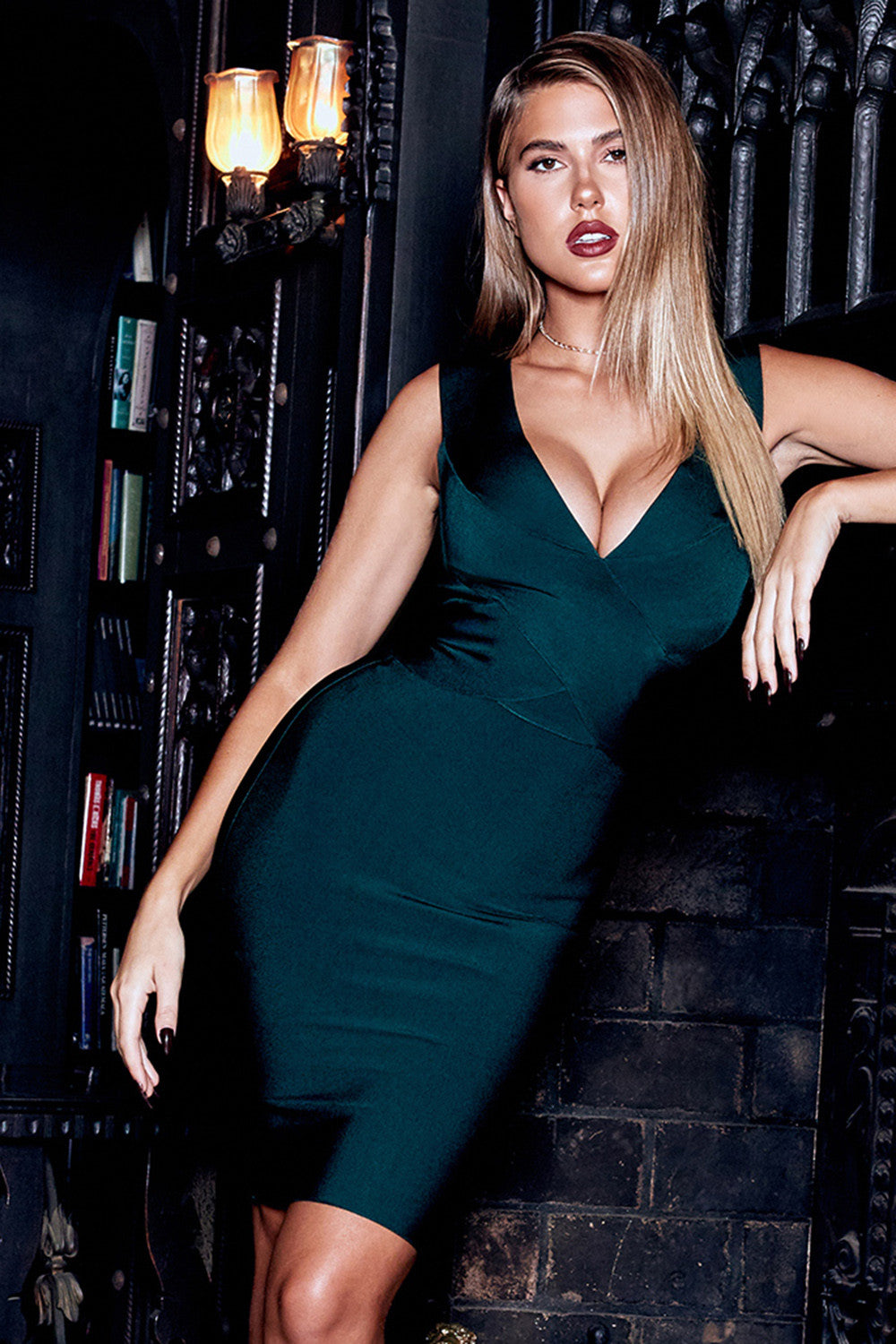green bandage dress