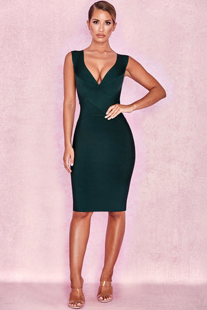 green deep plunge dress