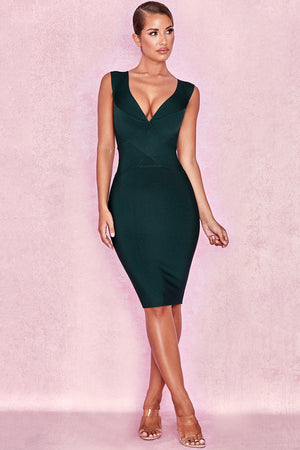 green deep v dress