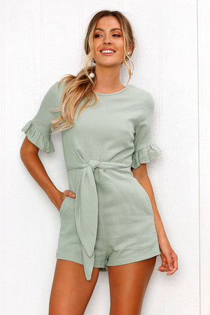 green romper dress
