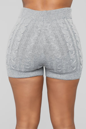 grey knit shorts
