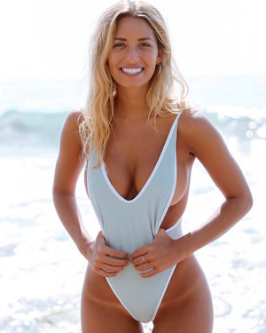 grey one piece thong swimsuit