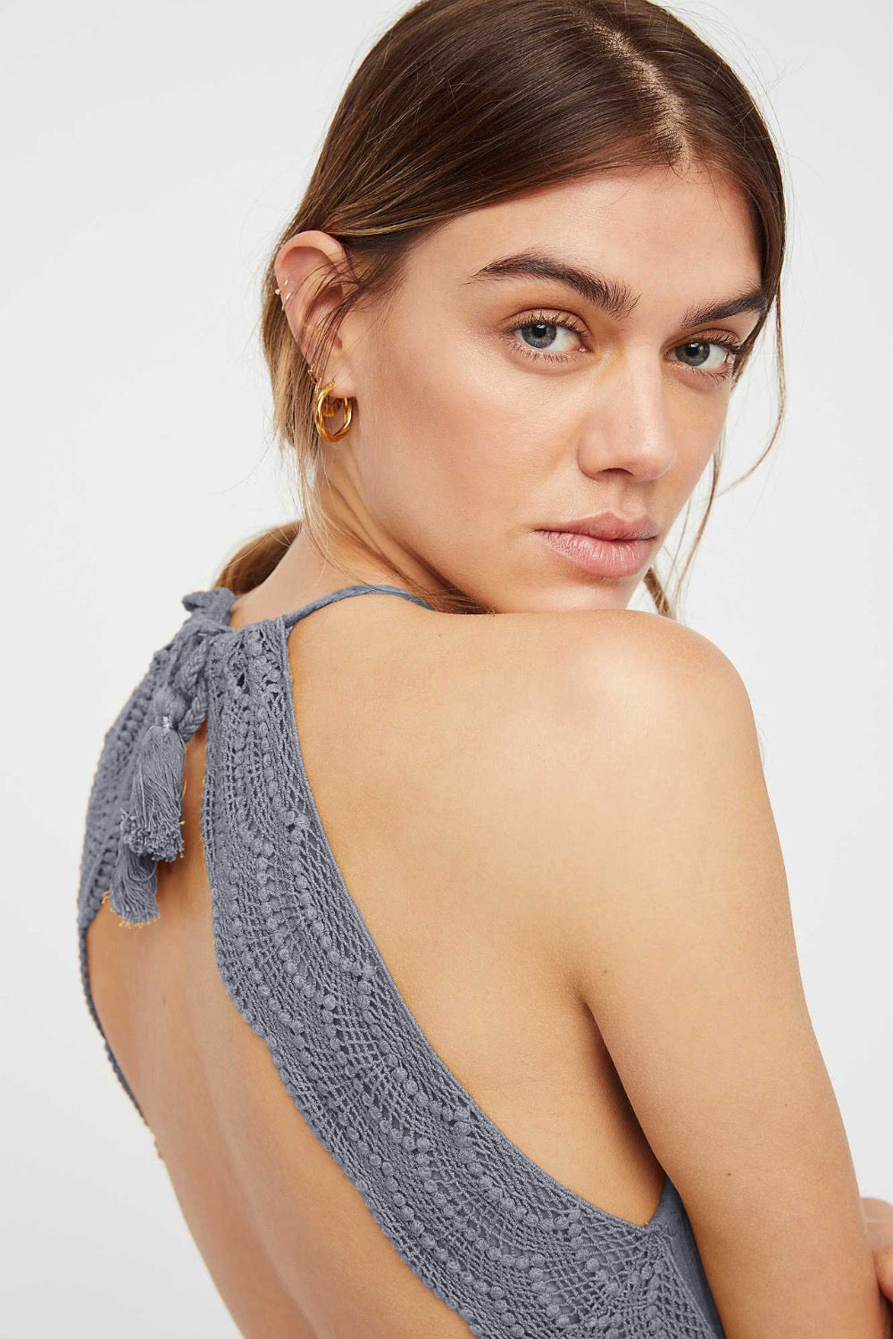 grey open back dress