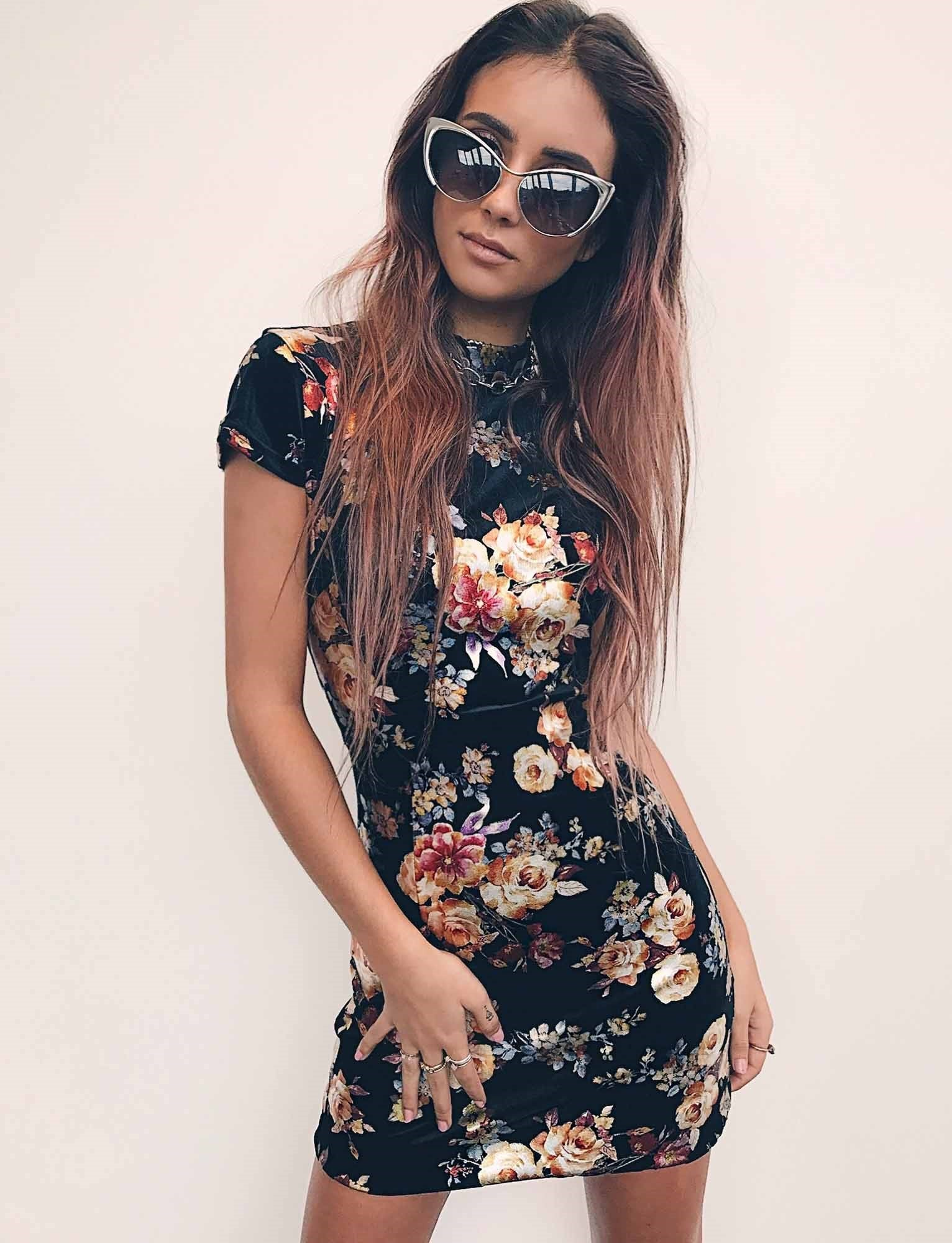 high neck cap sleeve floral print bodycon mini dress