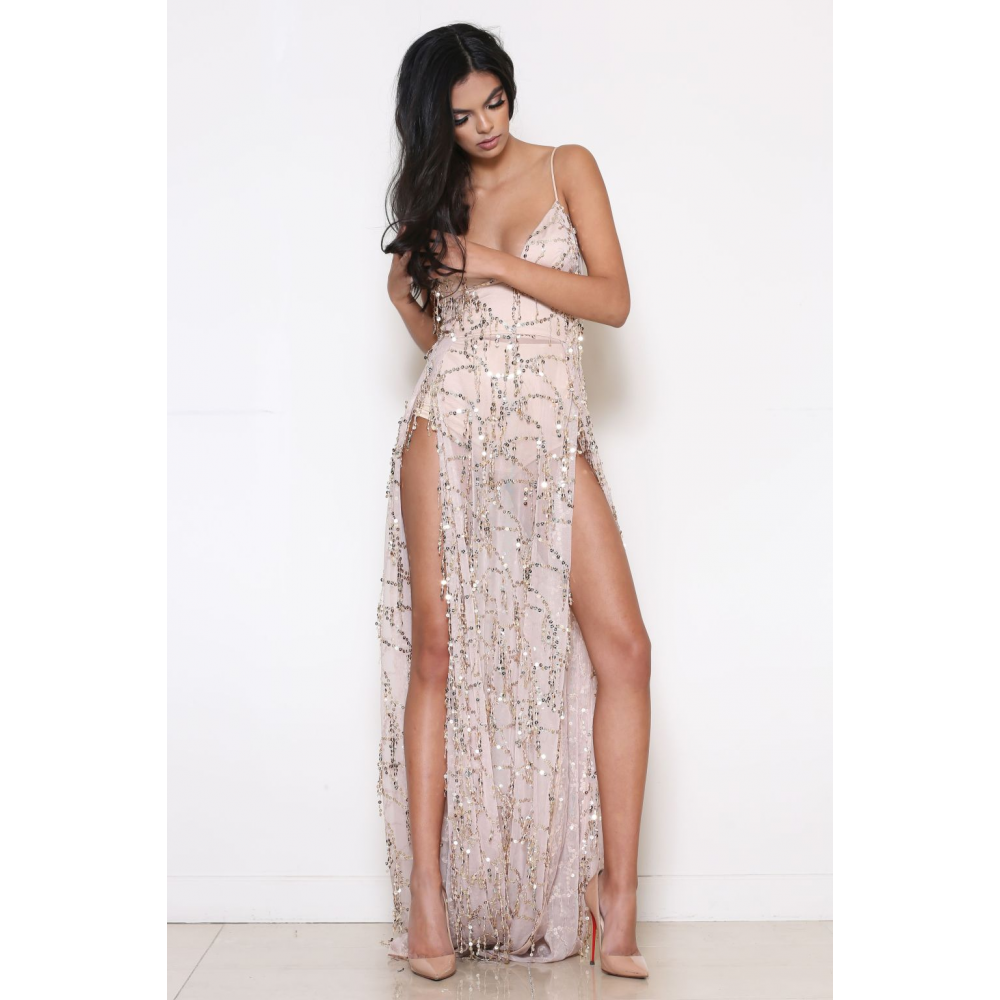 high slit sequin maxi dress