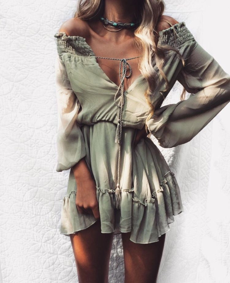 olive green off the shoulder dress