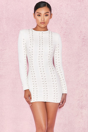 white mini dress with lace up detailing