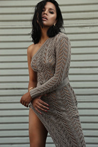 khaki knitted dress