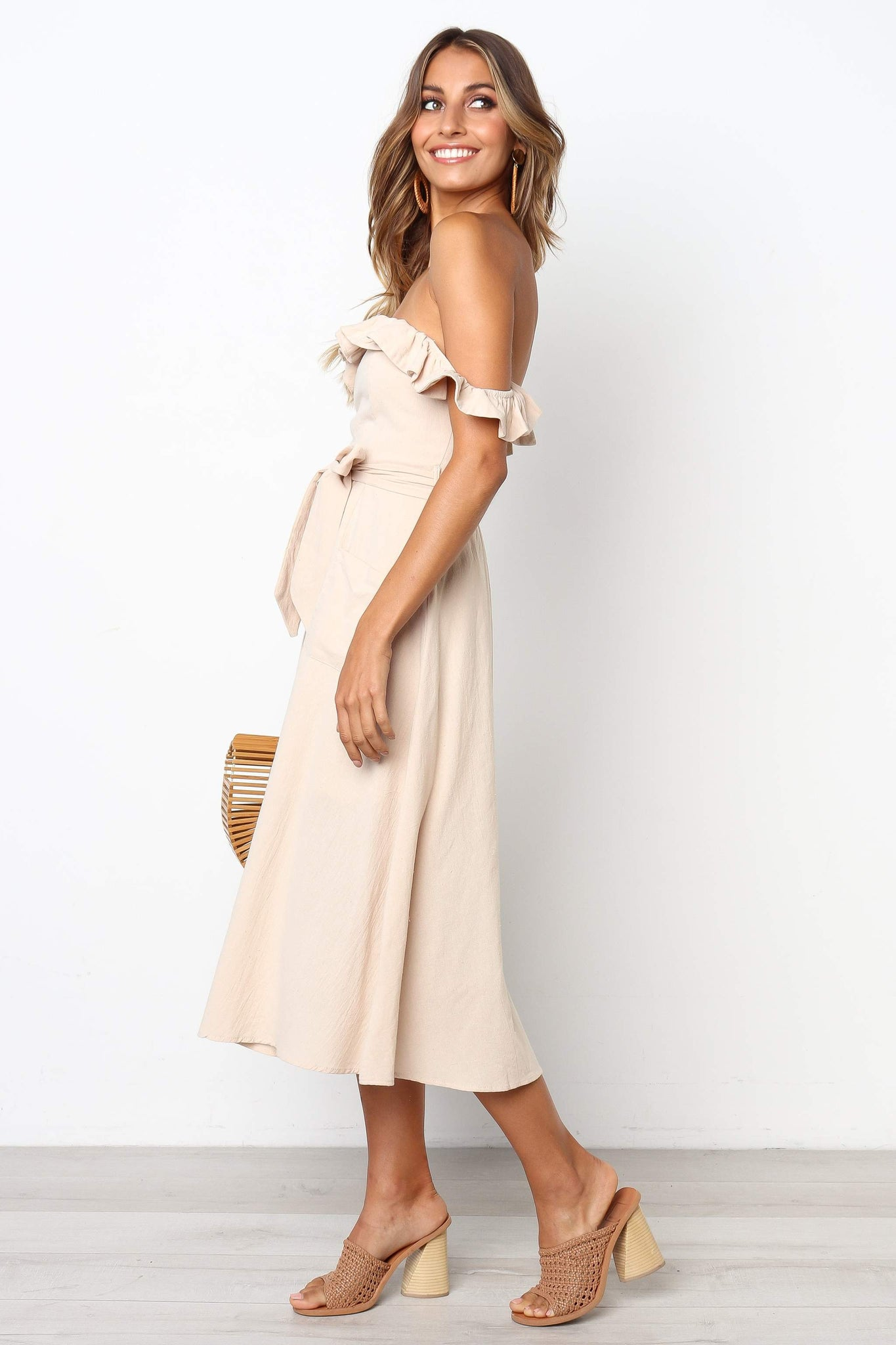 khaki off shoulder midi dress