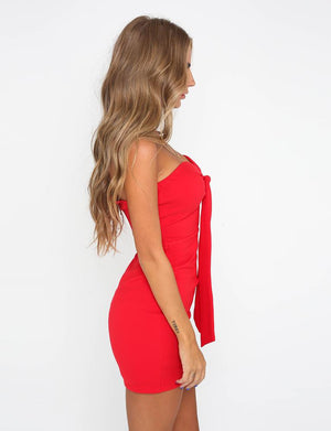 knot front strapless dress