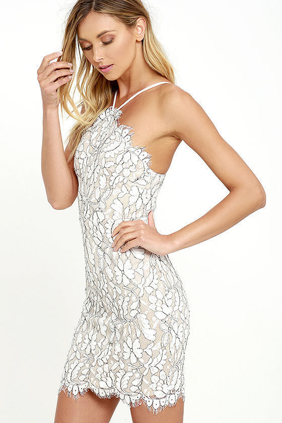 lace bodycon mini dress