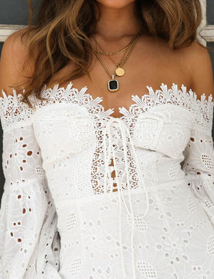 lace up off the shoulder dress