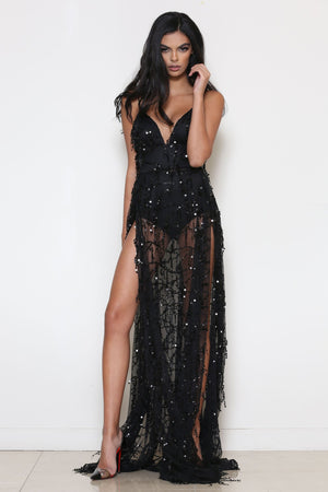 long black sequin dress