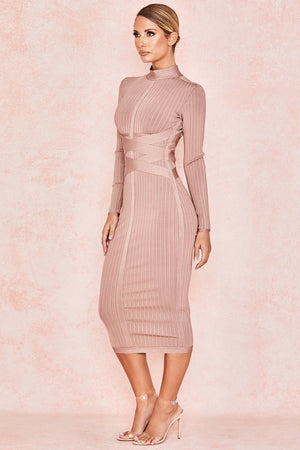 long sleeve bandage midi dress
