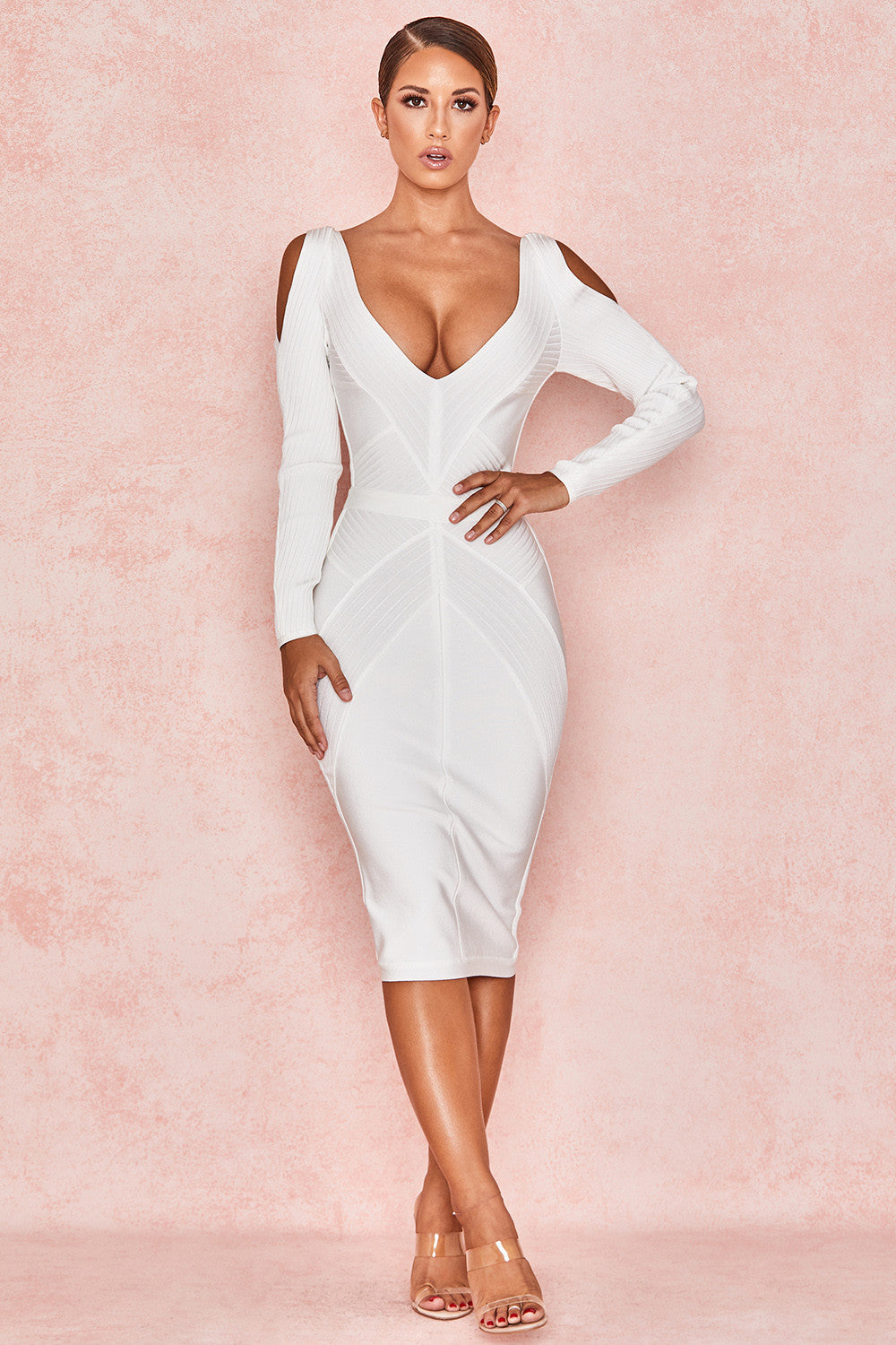 long sleeve cut out bodycon dress