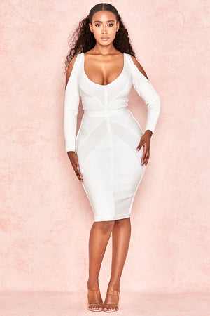 long sleeve cut out bodycon midi dress