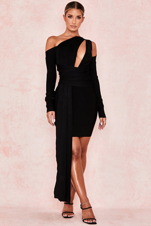 long sleeve draped asymmetrical dress