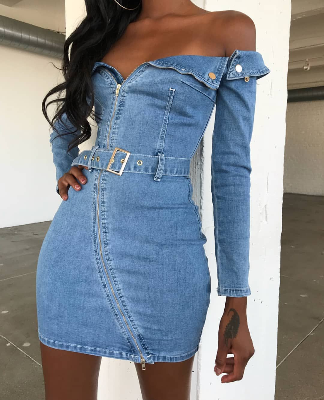 115138a28b7f long sleeve off shoulder denim mini dress