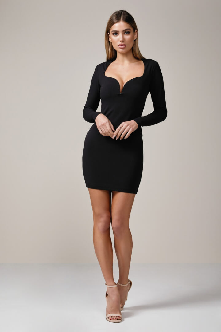 long sleeve plunge dress