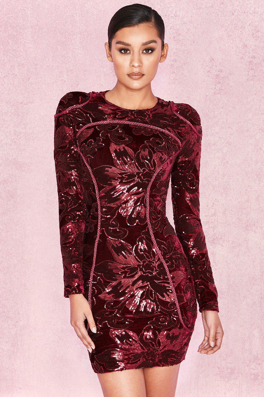 long sleeve red sequin dress