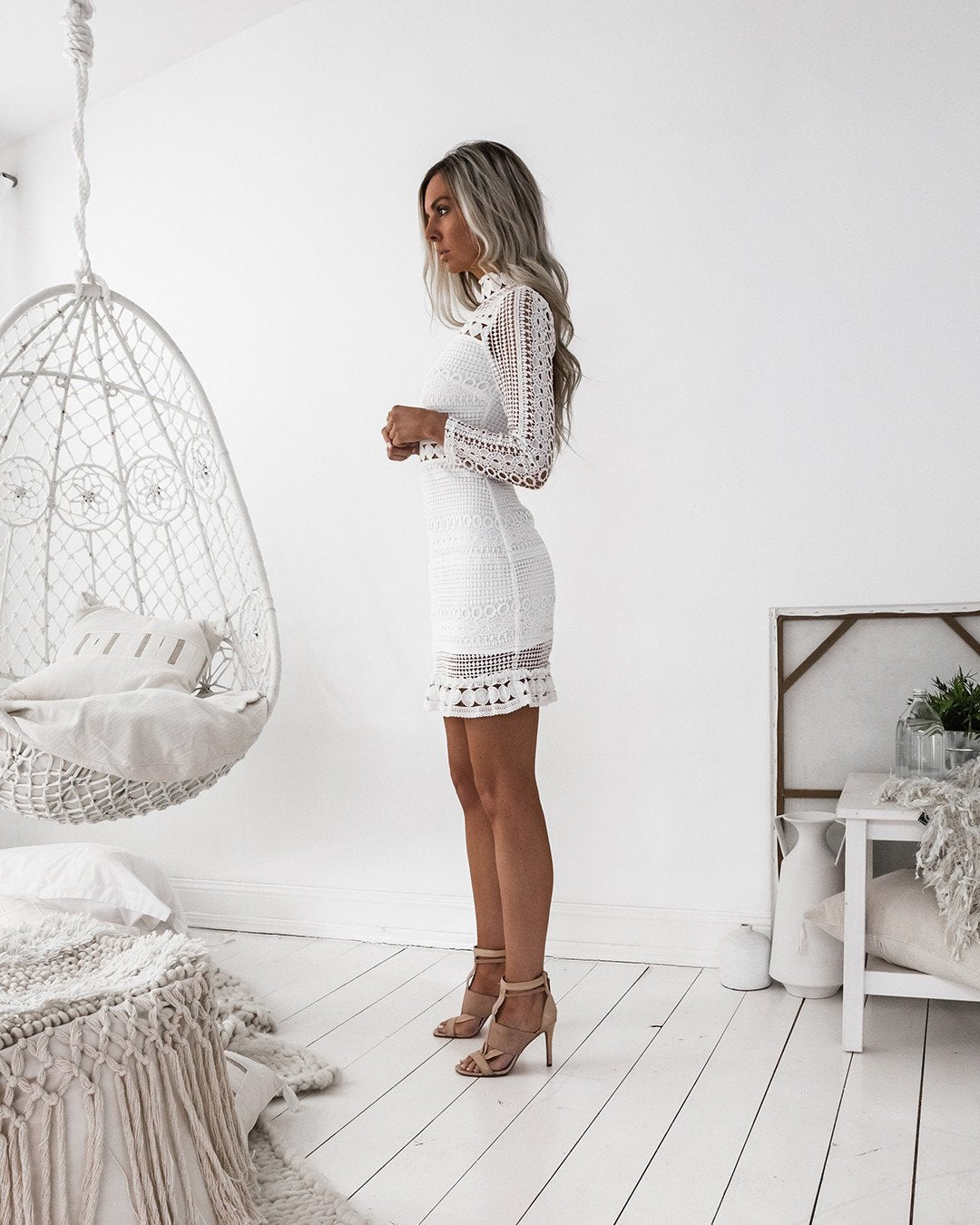 long sleeve white lace dress