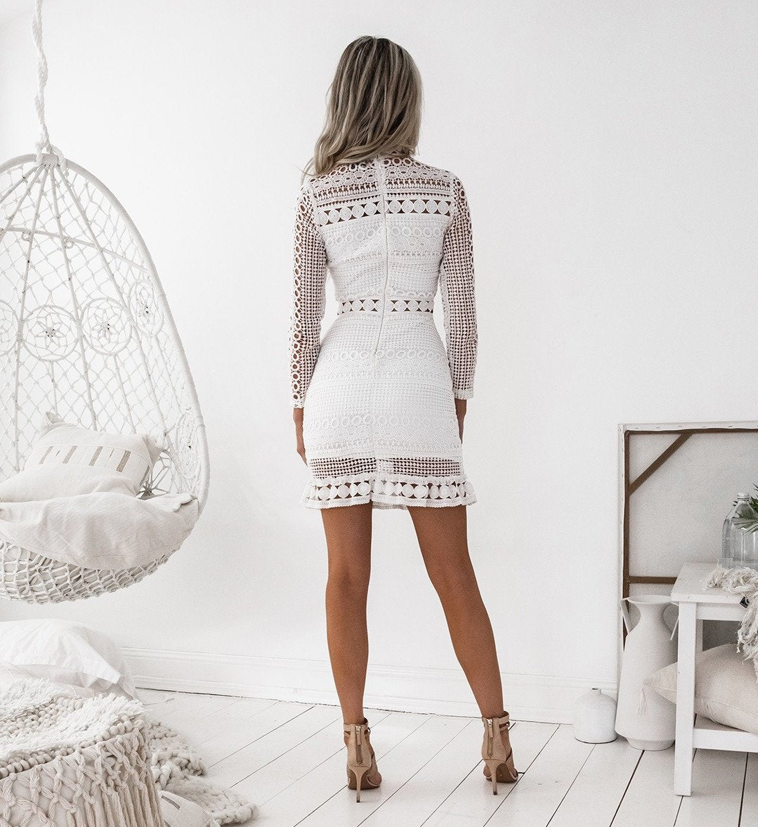 long sleeve white lace mini dress