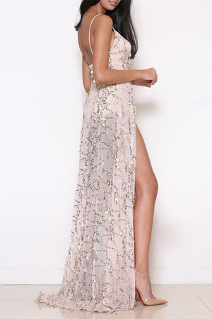 long tan sequin dress