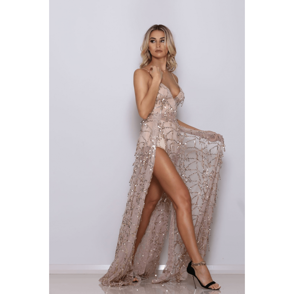 long thigh slit sequin dress