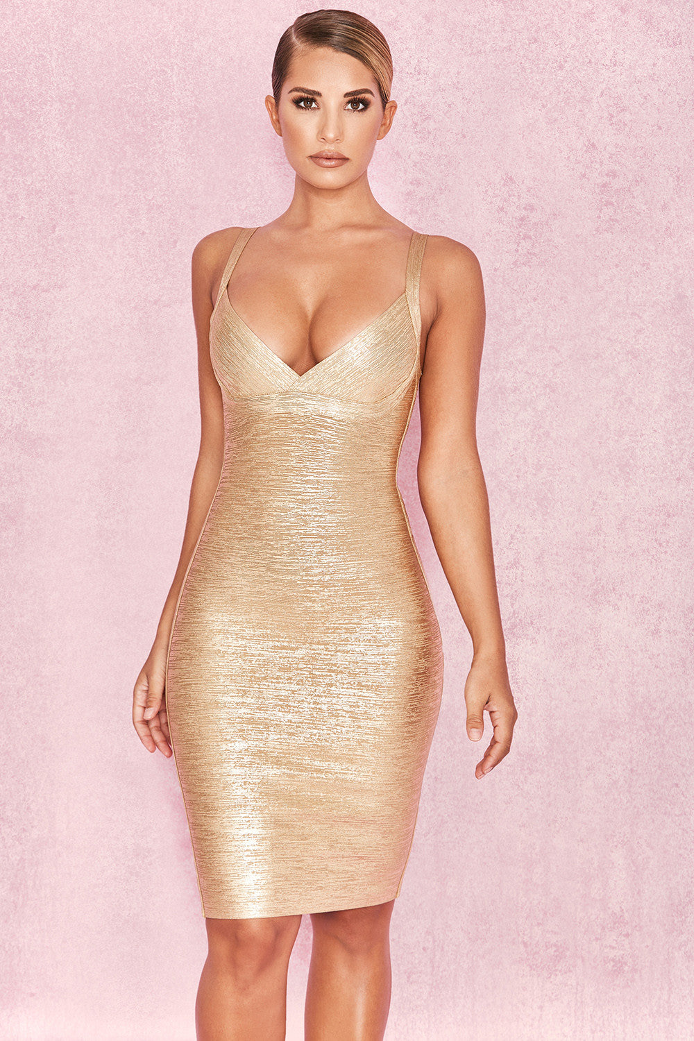 metallic plunge dress