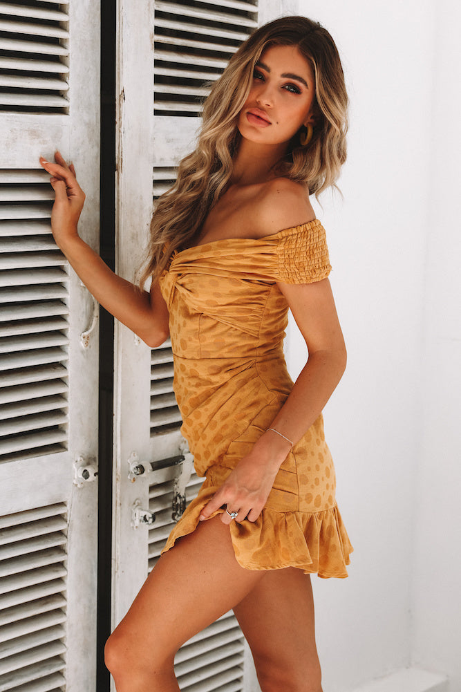 mustard off shoulder mini dress